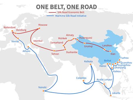 Ilustración de One belt - one road Chinese modern silk road. Economic transport way on world map vector illustration - Imagen libre de derechos
