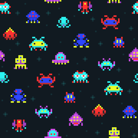 Illustration pour Cute pixel robots, space invaders retro video computer game seamless vector pattern - image libre de droit