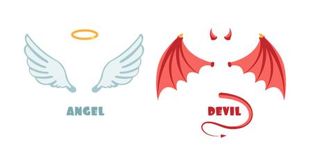 Illustration pour Nobody angel and devil suit. Innocent and mischief vector symbols - image libre de droit