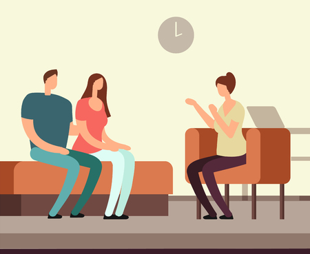 Illustration pour Patient on couch counseling with psychologist. Addiction mental therapy vector concept - image libre de droit