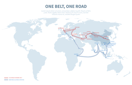 Ilustración de Asia and Europe international transit way. Chinese transport new silk road. Export and import path globe map vector illustration - Imagen libre de derechos