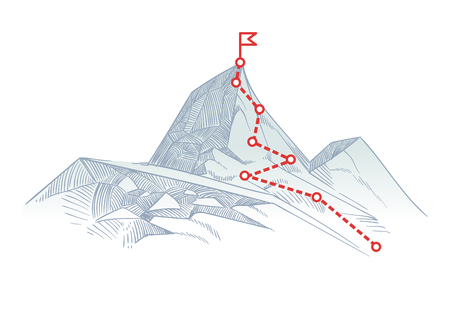 Illustration for Mountain climbing route to peak. Business journey path in progress to success vector concept - Royalty Free Image