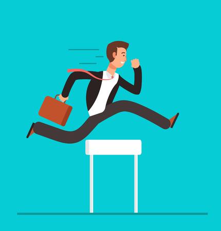 Ilustración de Businessman jumping over hurdles. Business challenge, successful overcoming vector concept - Imagen libre de derechos