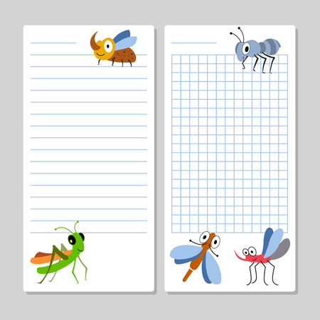 Illustration pour Lined notebook pages template with cartoon insects isolated. Vector illustration - image libre de droit