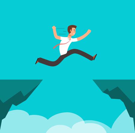 Ilustración de Businessman jumping over canyon. Business challenge, successful overcoming and risk vector cartoon concept - Imagen libre de derechos