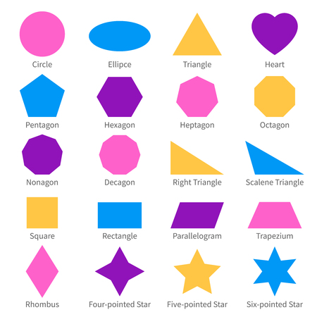 Illustration for Simple geometric 2d shapes. School geometry vector diagram. - Royalty Free Image