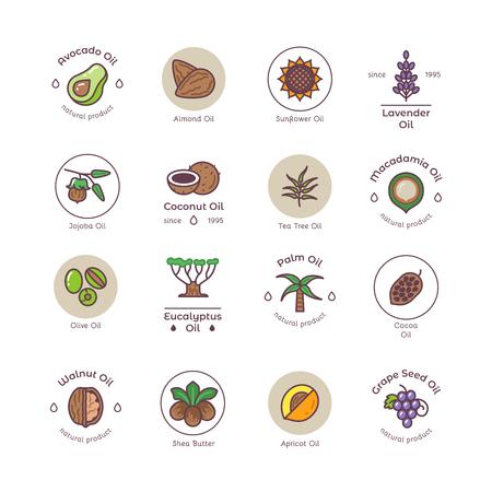 Ilustración de Healthy bio cosmetics oil linear vector logos - Imagen libre de derechos