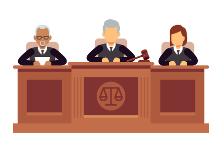 Illustration pour Federal supreme court with judges. Jurisprudence and law vector concept - image libre de droit
