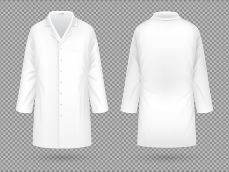 Illustration for Realistic white medical lab coat, hospital professional suit vector template isolated - Royalty Free Image