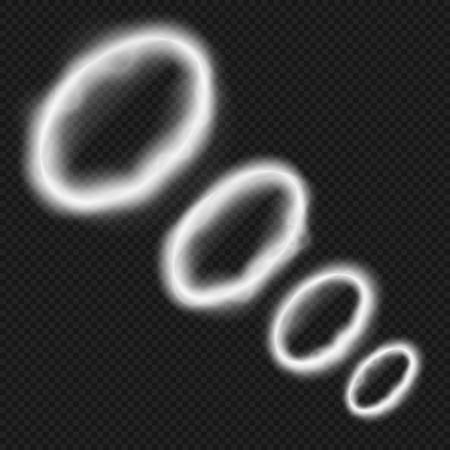Ilustración de White smoke rings from vape. Smoking pipe or hookah steam trail vector illustration isolated - Imagen libre de derechos