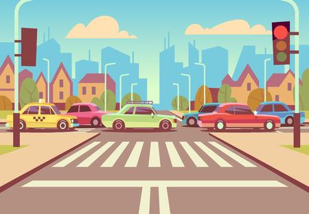 Illustration pour Cartoon city crossroads with cars in traffic jam, sidewalk, crosswalk and urban landscape vector illustration. - image libre de droit