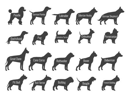 Ilustración de Black dog breeds vector silhouettes isolated on white background - Imagen libre de derechos