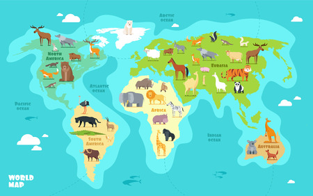 Illustration for Cartoon world map with animals, oceans and continents. Funny geography for kids education vector illustration - Royalty Free Image
