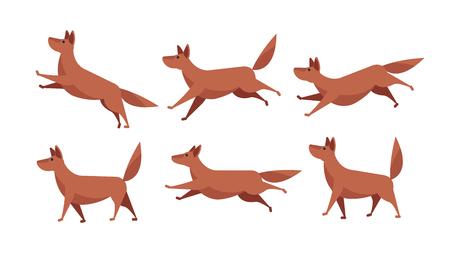 Ilustración de Running cartoon dog animation sprite sheet vector set isolated - Imagen libre de derechos