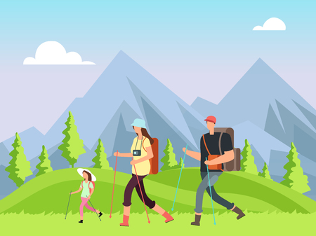 Illustration pour Hiking family in nature. Trekking man, woman and children with outdoor mountain landscape. Summer adventure vector background - image libre de droit