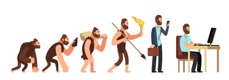 Illustration pour Human evolution. From monkey to businessman and computer user. Cartoon vector characters evolution human, ape and ancestors illustration - image libre de droit