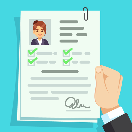 Photo pour Cv document. Qualification personal documentation with girl avatar vector concept. Interview personal document in hand illustration - image libre de droit