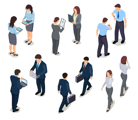 Illustrazione per Isometric business people. 3d men and women. Crowd of persons. Businessman and businesswoman. Vector characters in office clothes. Illustration of business people isometric, man and woman - Immagini Royalty Free