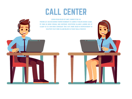 Ilustración de Smiling young woman and man operator with headset talking with customer. Cartoon characters for call center concept - Imagen libre de derechos