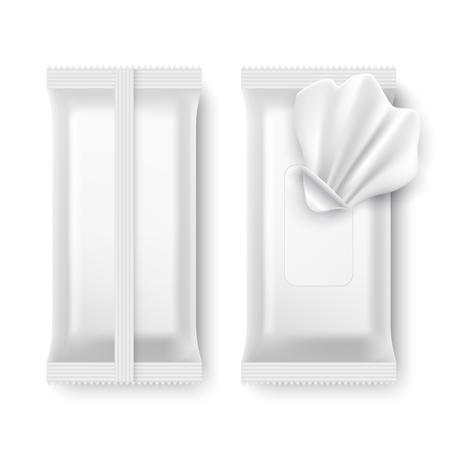 Illustration for Wet wipe package. White napkin packaging isolated vector mockup - Royalty Free Image