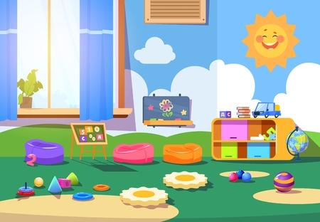 Illustration pour Kindergarten room. Empty playschool room with toys and furniture. Kids playroom cartoon vector interior - image libre de droit