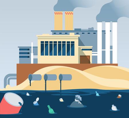 Ilustración de Industrial waste. Polluted dirty water and factory dumping wastewater river. Factory wastewater and garbage, muddy and ugliness pollution illustration vector - Imagen libre de derechos