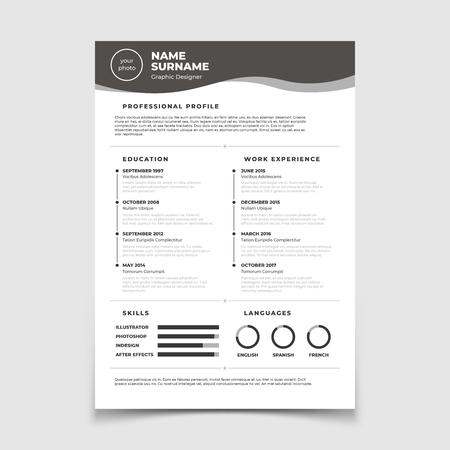 Illustration pour Cv resume. Document for employment interview. Vector business design template. Resume for interview in company corporate illustration - image libre de droit