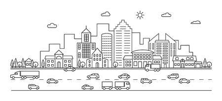 Illustration pour Line city. Outline town street with buildings and cars. Modern vector doodle cityscape and transportation. Illustration of town and city street line - image libre de droit