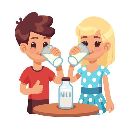 Ilustración de Kids drink milk. Cartoon children, boy and girl with milk glass. Healthy breakfast vector concept. Illustration of healthy milk for child - Imagen libre de derechos