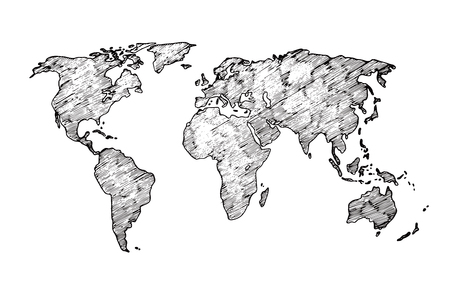Illustration pour World map sketch. Earth continents rough drawing. Scribble classroom vector map isolated. Illustration of world sketch map, africa and europe, america and asia - image libre de droit
