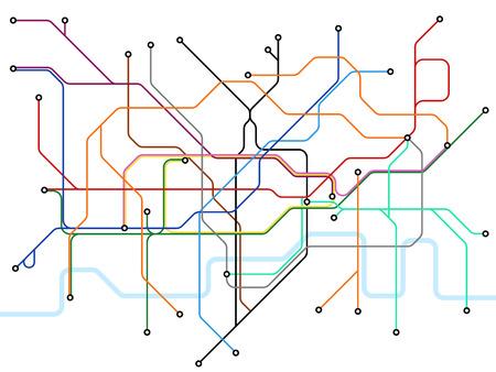 Illustration pour London underground map. Subway public transportation scheme. Uk train station vector plan. Illustration of scheme subway public transportation line - image libre de droit