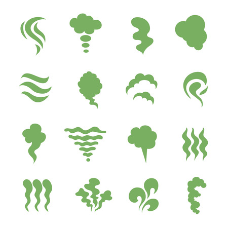 Photo pour Smell icons. Steaming stench, vapor and cooking steam. Green expired food odor isolated symbols. Green smell smoky, aroma mist and shitty toxic illustration - image libre de droit