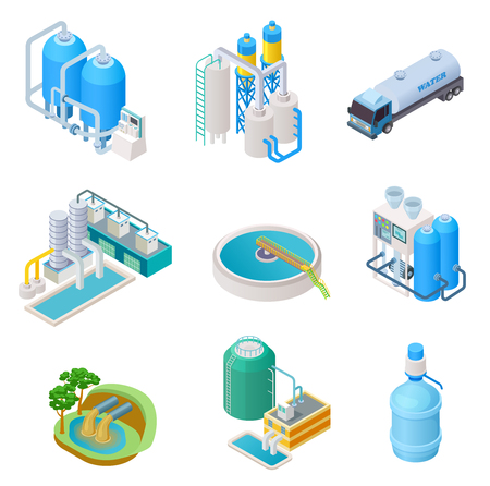 Illustration for Water purification technology. Isometric treatment water industrial system, wastewater separator vector isolated set. Isometric purification and separator water, reservoir equipment illustration - Royalty Free Image