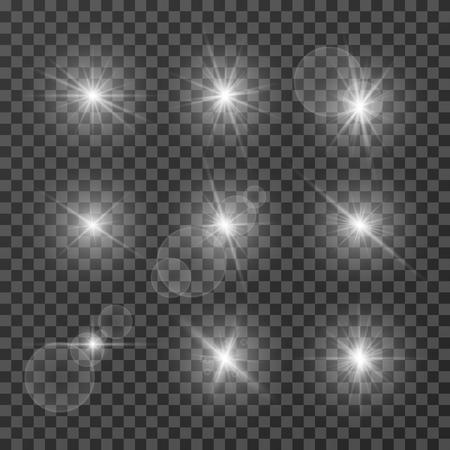 Ilustración de Lens effects. Camera flash light, flare. White light spot glowing sparkles, starlight isolated on transparent background vector set. Illustration of sparkle glow, flash star shine, bright lens - Imagen libre de derechos