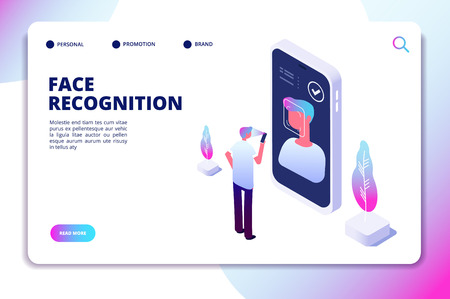 Ilustración de Face recognition isometric concept. Id verification smartphone scanner. Personal identify, face authentic reader vector landing page. Illustration of smartphone scanning face and recognition - Imagen libre de derechos