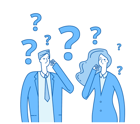 Illustrazione per Thinking couple. Confused young girl man with question marks. Troubled people think vector concept. Illustration of woman and man confused and problem - Immagini Royalty Free