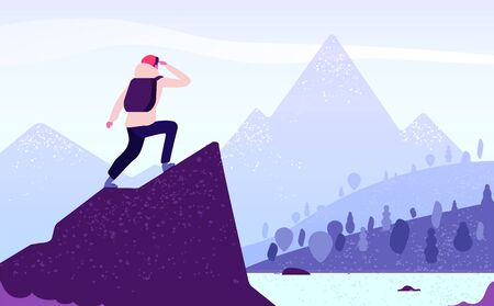 Ilustración de Man in mountain adventure. Climber standing with backpack on rock looks to mountain landscape. Tourism nature journey vector concept. Adventure mountain, mountaineering tourism, trekking illustration - Imagen libre de derechos