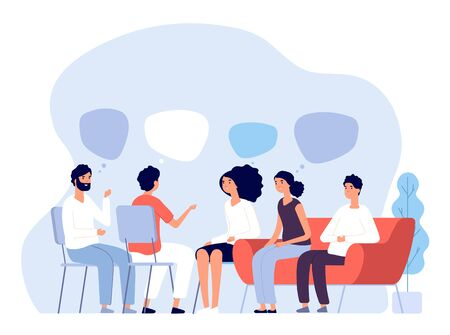 Illustration pour Addiction treatment concept. Group therapy, people counseling with psychologist, persons in psychotherapist sessions. Vector image. Illustration psychologist counseling group patient - image libre de droit