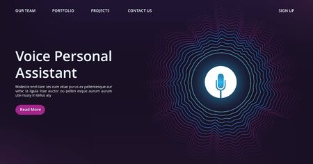 Ilustración de Voice assistant landing. Web page template with vector sound wave and microphone. Illustration voice assistant technology, microphone personal help - Imagen libre de derechos