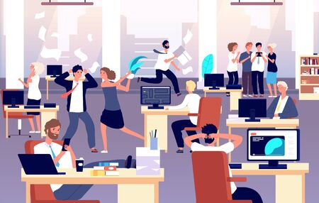 Illustrazione per Chaos in workplace. Sleepy lazy, unorganized employees in office. Bad organization control, business corporate problems vector concept. Work office day, relax and running routine illustration - Immagini Royalty Free