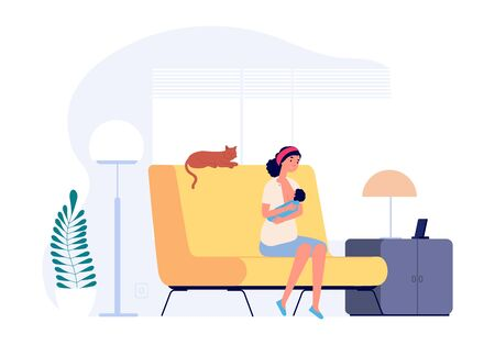 Illustrazione per Happy young mother. Breastfeeding, woman holding newborn. Female in living room with toddler and cat vector illustration. Mother parent, baby breastfeeding, newborn and nursing - Immagini Royalty Free