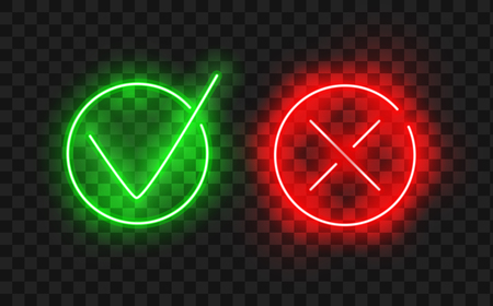 Illustration pour Tick icon set. Stylish neon check mark icon set in green and red color, vector illustration. Check Marks painted with a brush, isolated on white. Grunge checkmarks in checkbox. - image libre de droit