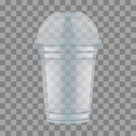 Ilustración de Clear plastic cup with sphere dome cap for milkshake and lemonade and smoothie. Empty Transparent Disposable Plastic Milkshake Cup With Lid. Realistic Vector Illustration. - Imagen libre de derechos