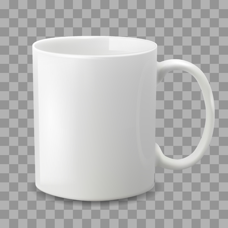 Ilustración de Photo realistic white cup isolated on the transparent background. Design Template for Mock Up. Vector illustration. Template ceramic clean white mug with a matte effect, without the bright glare. - Imagen libre de derechos