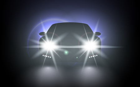 Ilustración de Cars flares light effect. Vector bright train lights for your design. Car lights realistic composition of night urban scenery and stylish automobile silhouette with headlights and shadows - Imagen libre de derechos
