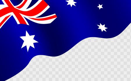 Illustration pour Illustration of a waving Australian flag against transparent background. Happy Australia day 26 january festive background with flag. - image libre de droit