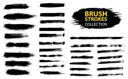 Illustrazione per Vector large set different grunge brush strokes. Dirty artistic design elements isolated on white background. Black ink vector brush strokes - Immagini Royalty Free