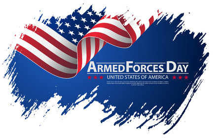 Illustration pour Armed forces day template poster design. Vector illustration background for Armed forces day. Vector illustration Celebration background for Armed Forces Day. Brush stroke background Armed forces day - image libre de droit