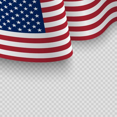 Illustration pour Waving flag of the United States of America. - image libre de droit