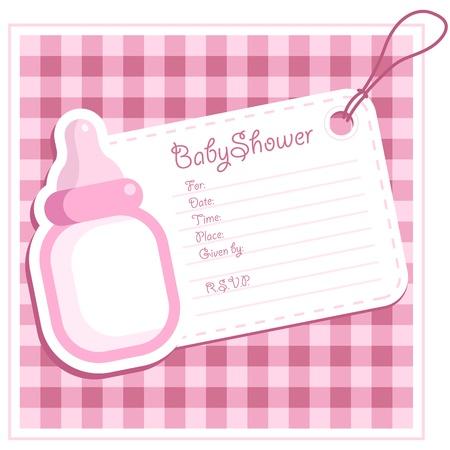 Baby Girl Shower Bottle Invitation Card